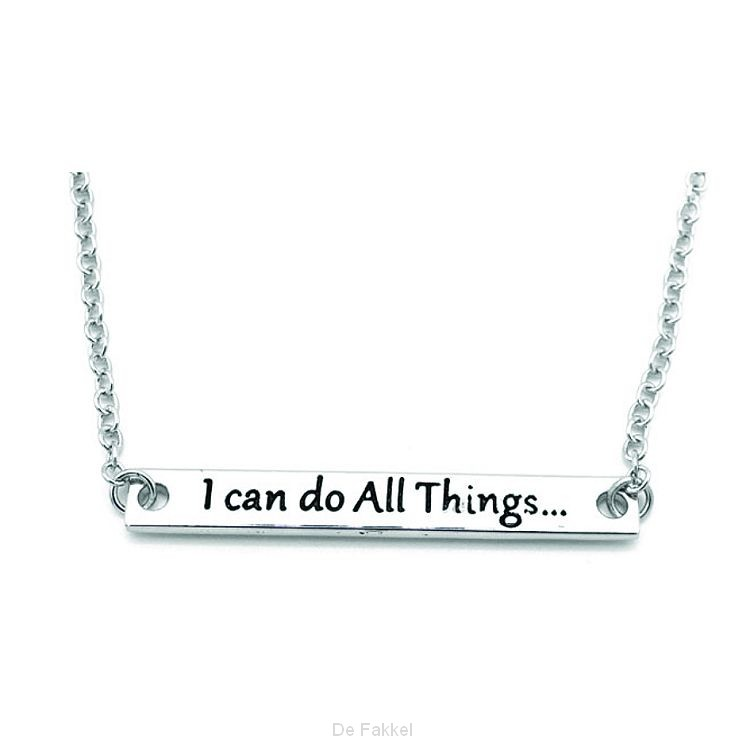 Ketting i can do all things silver