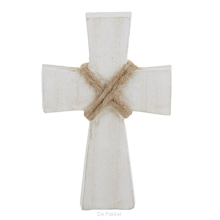 Smal wood cross white wash