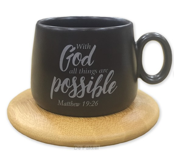 Mug with coaster with God