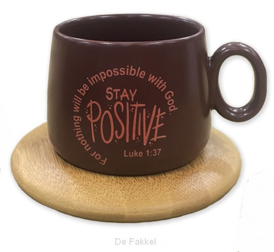 Mug with coaster stay positive